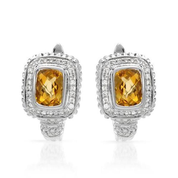 Natural 3.30 CTW Citrine & Diamond Earrings 14K White Gold - REF-101K7R