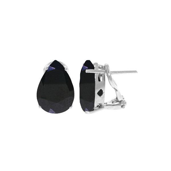 Genuine 9.3 ctw Sapphire Earrings 14KT White Gold - REF-83Z5N