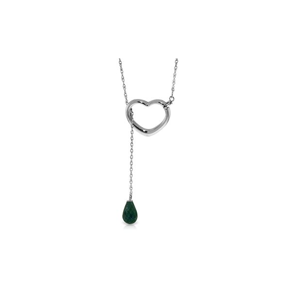 Genuine 3.3 ctw Emerald Necklace 14KT White Gold - REF-37F4Z