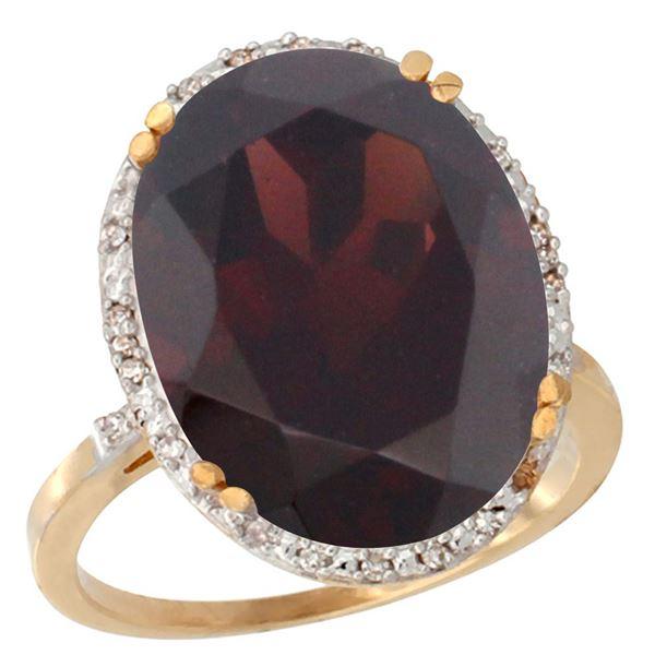13.71 CTW Garnet & Diamond Ring 10K Yellow Gold - REF-77R5H