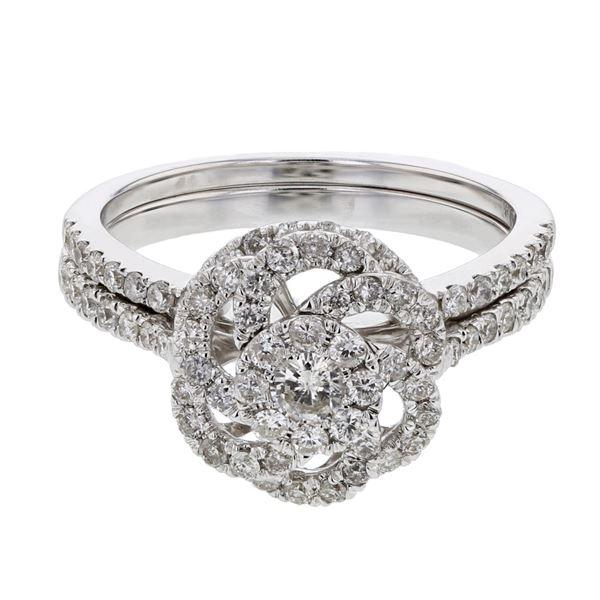 Natural 0.85 CTW Diamond & Wedding Ring Set 14K White Gold - REF-97F2M