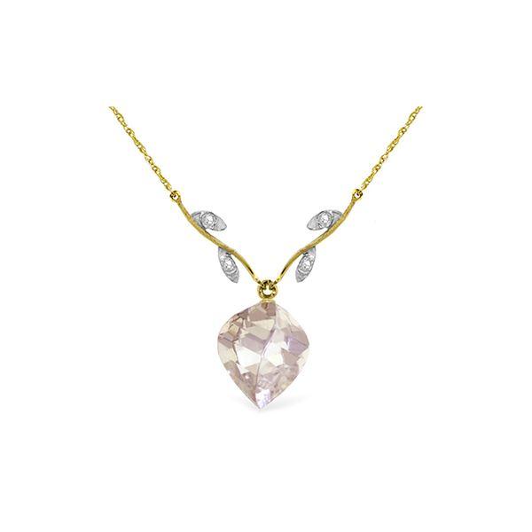 Genuine 12.82 ctw White Topaz & Diamond Necklace 14KT Yellow Gold - REF-42W7Y