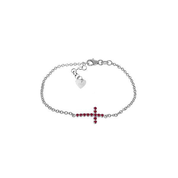 Genuine 0.30 CTW Ruby Bracelet 14KT White Gold - REF-53M2T