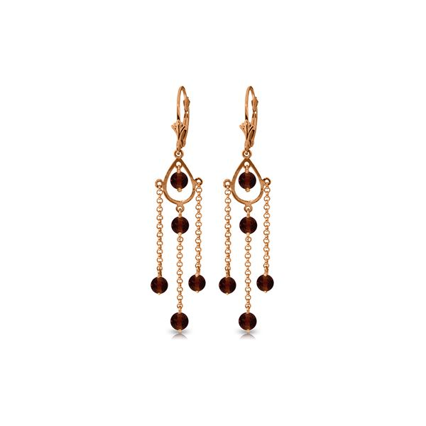 Genuine 3 ctw Garnet Earrings 14KT Rose Gold - REF-48T9A