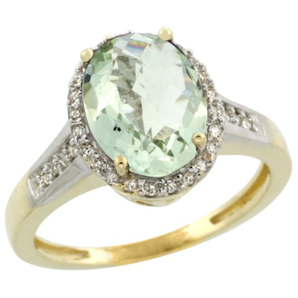 2.60 CTW Amethyst & Diamond Ring 10K Yellow Gold - REF-46H7M