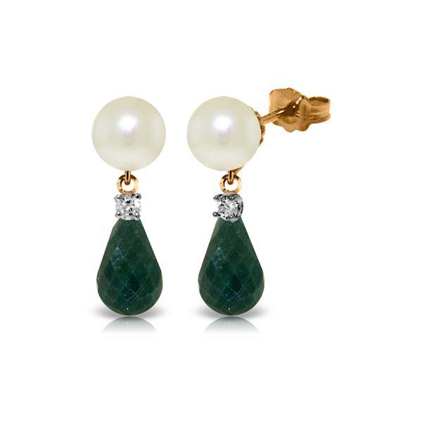 Genuine 8.7 ctw Pearl, Green Sapphire Corundum & Diamond Earrings 14KT Rose Gold - REF-27K6V