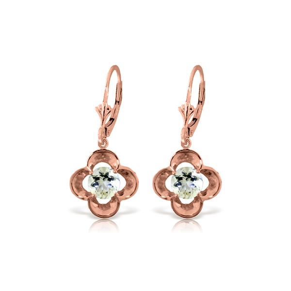 Genuine 1.10 ctw Aquamarine Earrings 14KT Rose Gold - REF-40N8R