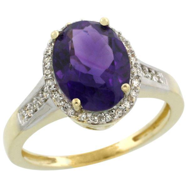 2.60 CTW Amethyst & Diamond Ring 14K Yellow Gold - REF-52R7H