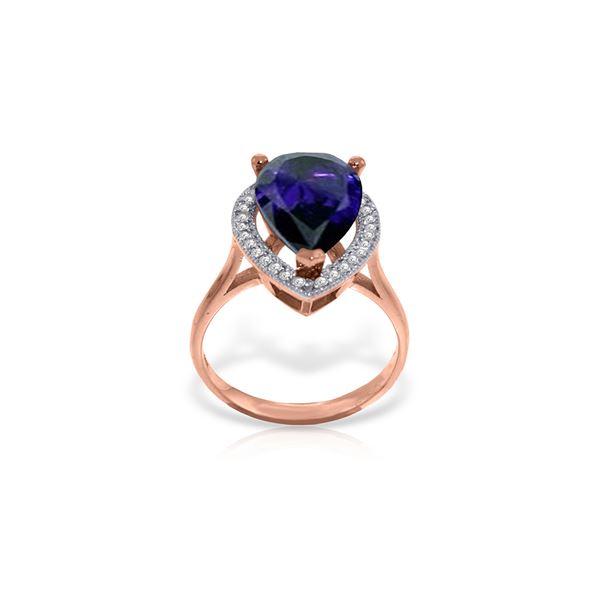 Genuine 5.26 ctw Sapphire & Diamond Ring 14KT Rose Gold - REF-102W6Y