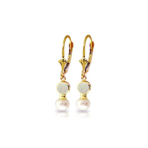 Genuine 5.17 ctw Opal & Pearl Earrings 14KT Yellow Gold - REF-36R5P