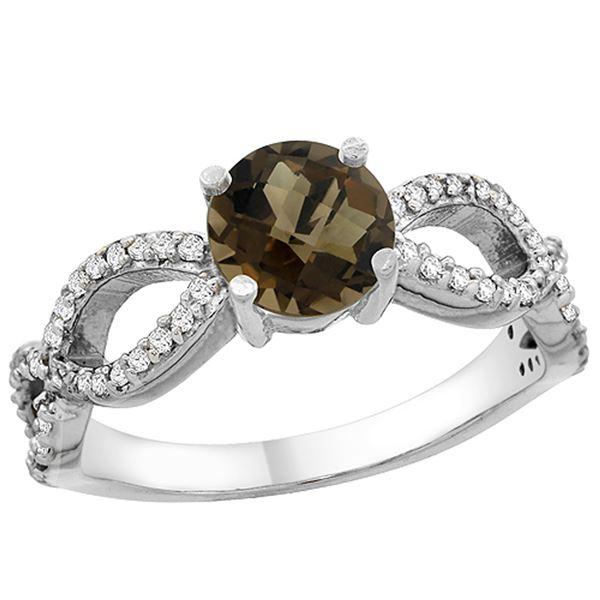 1.25 CTW Quartz & Diamond Ring 14K White Gold - REF-49M8K