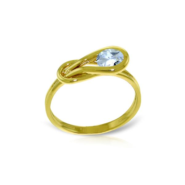 Genuine 0.65 ctw Aquamarine Ring 14KT Yellow Gold - REF-49Y2F