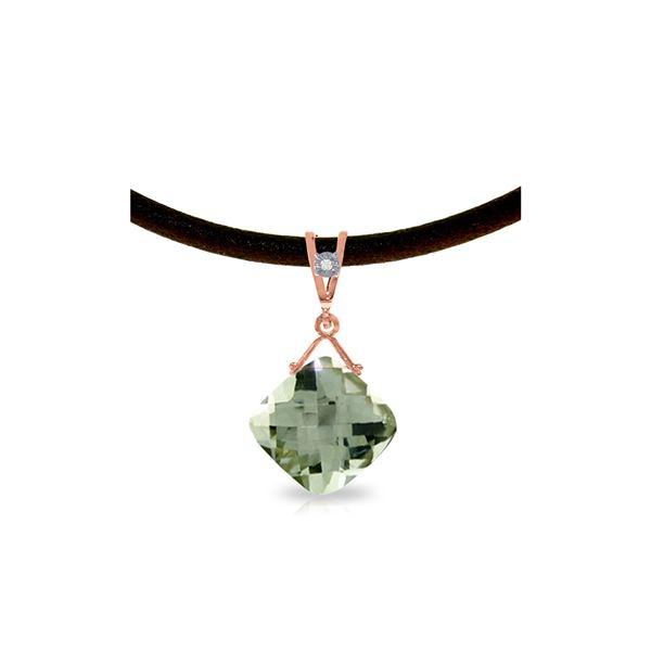 Genuine 8.76 ctw Green Amethyst & Diamond Necklace 14KT Rose Gold - REF-30Y6F