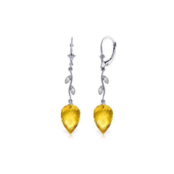 Genuine 19.02 ctw Citrine & Diamond Earrings 14KT White Gold - REF-51P9H