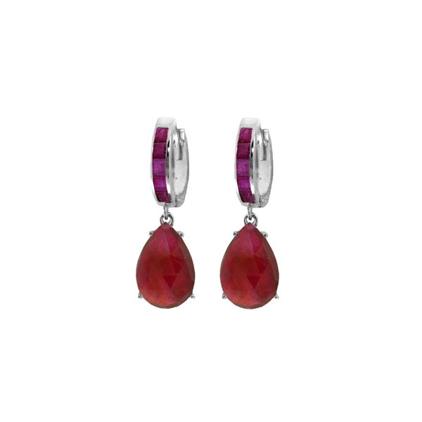 Genuine 11.30 ctw Ruby Earrings 14KT White Gold - REF-118N8R
