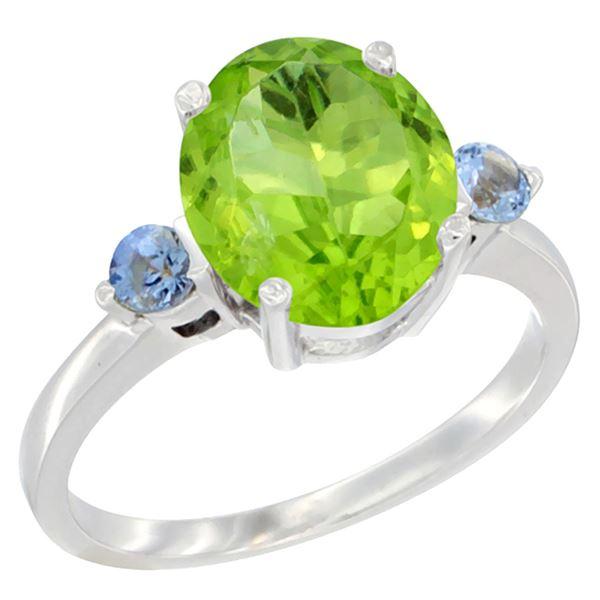 3.02 CTW Peridot & Blue Sapphire Ring 14K White Gold - REF-36H3M