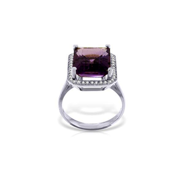 Genuine 5.8 ctw Amethyst & Diamond Ring 14KT White Gold - REF-82A2K