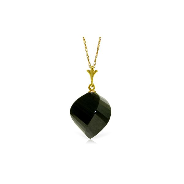 Genuine 15.5 ctw Black Spinel Necklace 14KT Yellow Gold - REF-21Y9F