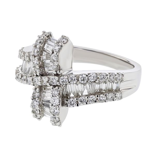 Natural 1.29 CTW Diamond & Baguette Ring 18K White Gold - REF-181T8X