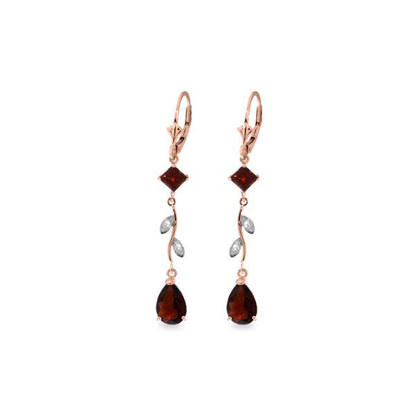 Genuine 3.97 ctw Garnet & Diamond Earrings 14KT Rose Gold - REF-44R9P