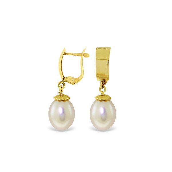 Genuine 8 ctw Pearl Earrings 14KT Yellow Gold - REF-21M2T