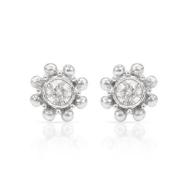 Natural 0.20 CTW Diamond Earrings 14K White Gold - REF-36T2X