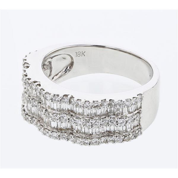 Natural 1.55 CTW Baguette & Diamond Ring 18K White Gold - REF-222W3H