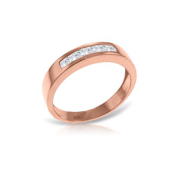 Genuine 0.60 ctw White Topaz Ring 14KT Rose Gold - REF-46Z2N