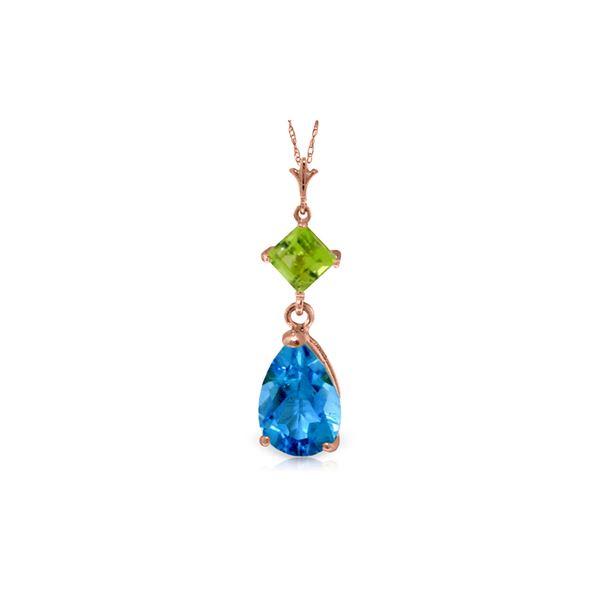 Genuine 2 ctw Blue Topaz & Peridot Necklace 14KT Rose Gold - REF-24N3R