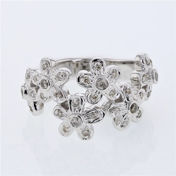 Natural 0.35 CTW Diamond Ring 14K White Gold - REF-87N3Y