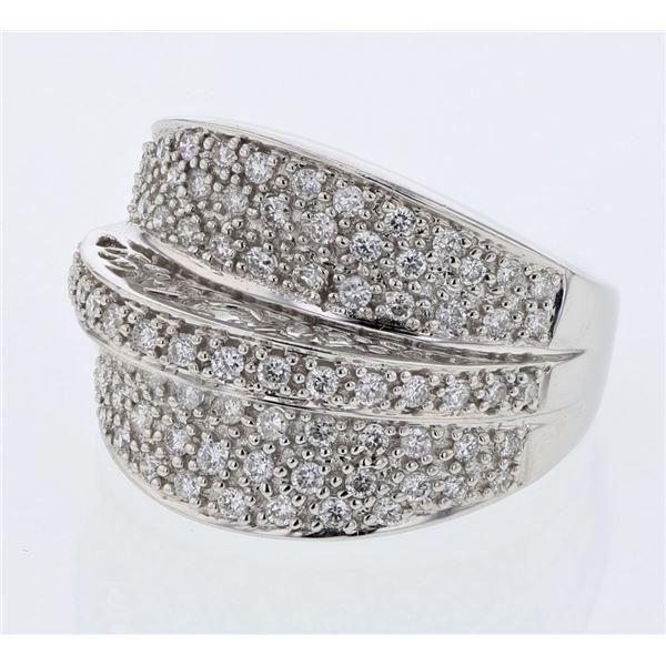 Natural 0.90 CTW Diamond Ring 18K White Gold - REF-186W3H
