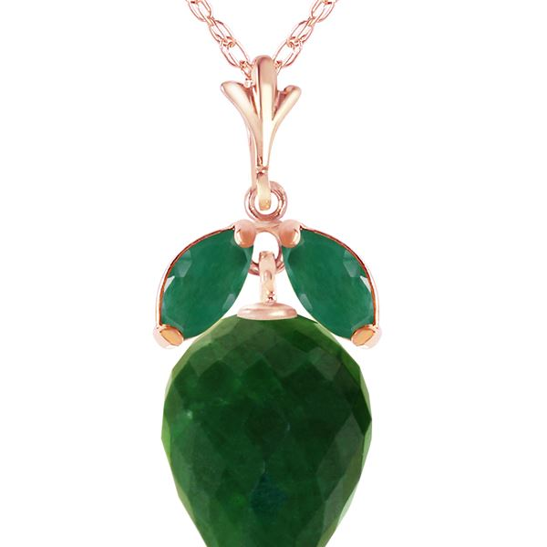 Genuine 13.4 ctw Green Sapphire Corundum & Emerald Necklace 14KT Rose Gold - REF-34V3W