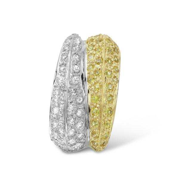 Natural 0.90 CTW Yellow Sapphire & Diamond Pendant 14K Two Tone Yellow Gold - REF-68W4H