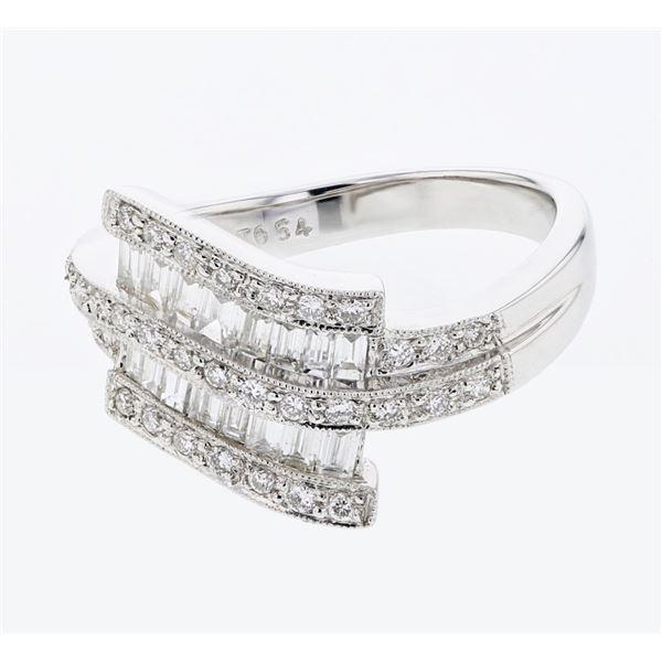 Natural 0.80 CTW Baguette & Diamond Ring 18K White Gold - REF-118T8X
