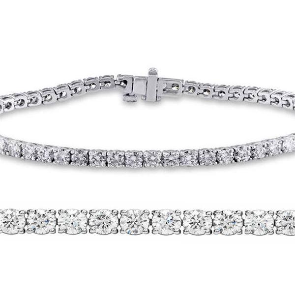 Natural 3.01ct VS2-SI1 Diamond Tennis Bracelet 18K White Gold - REF-236X6F