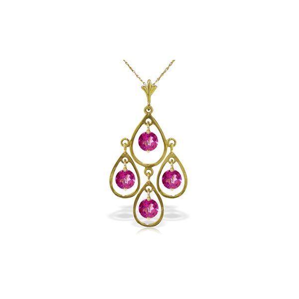 Genuine 1.20 ctw Pink Topaz Necklace 14KT Yellow Gold - REF-31X2M