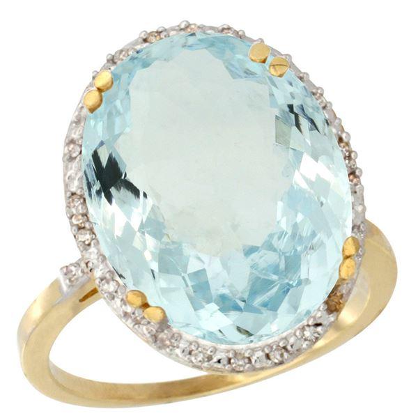 13.71 CTW Aquamarine & Diamond Ring 14K Yellow Gold - REF-183Y5V