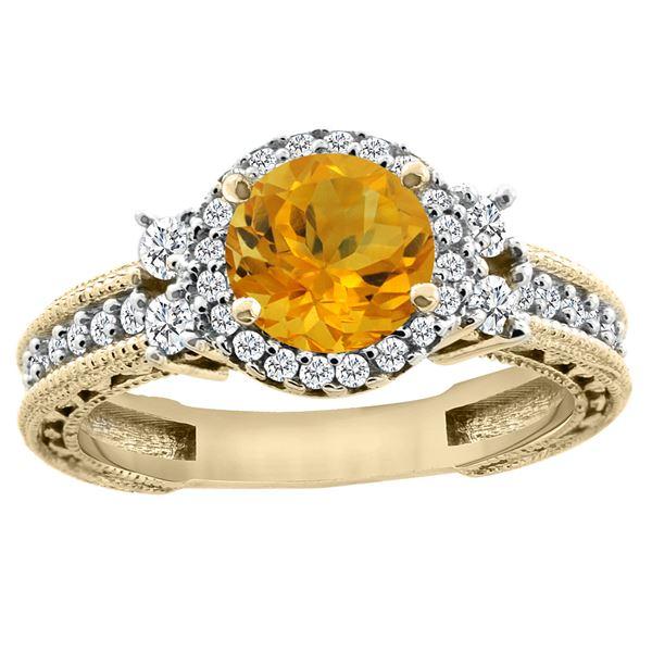 1.46 CTW Citrine & Diamond Ring 14K Yellow Gold - REF-77N4Y