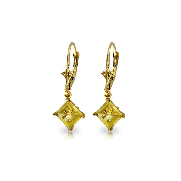 Genuine 3.2 ctw Citrine Earrings 14KT Yellow Gold - REF-30N2R