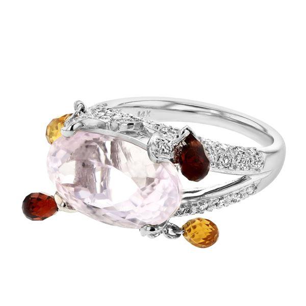 Natural 12.86 CTW Kunzite & Garnette Ring 14K White Gold - REF-102K6R