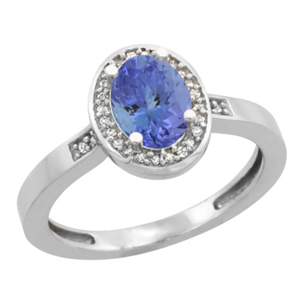 0.92 CTW Tanzanite & Diamond Ring 14K White Gold - REF-44H5M
