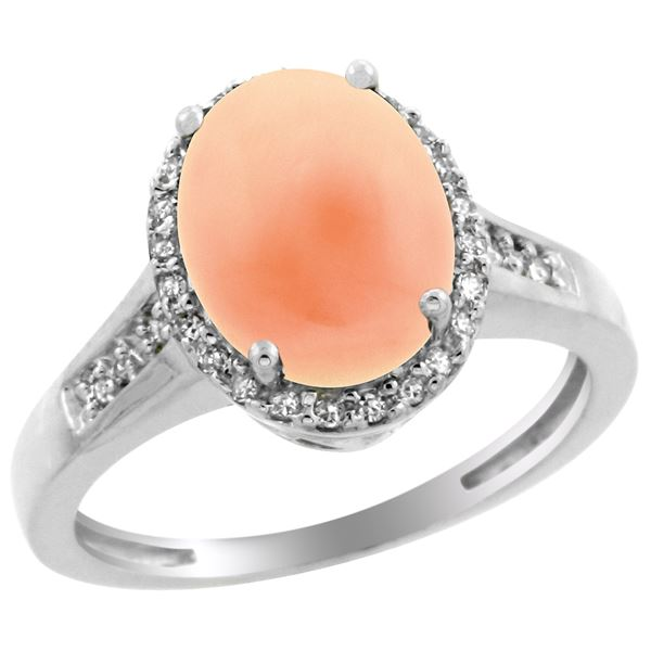 0.20 CTW Diamond & Natural Coral Ring 14K White Gold - REF-54Y2V