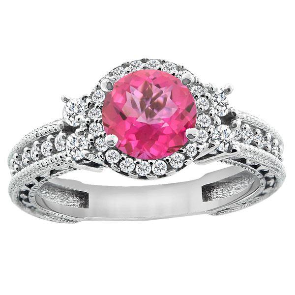 1.46 CTW Pink Topaz & Diamond Ring 14K White Gold - REF-77R4H