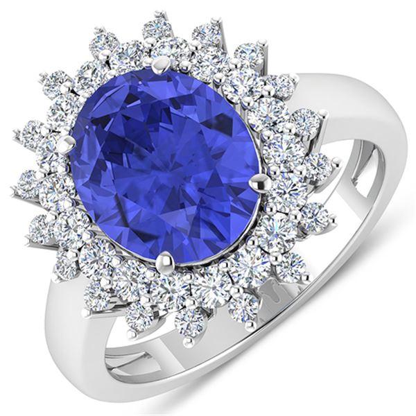 Natural 4.54 CTW Tanzanite & Diamond Ring 14K White Gold - REF-157K5W