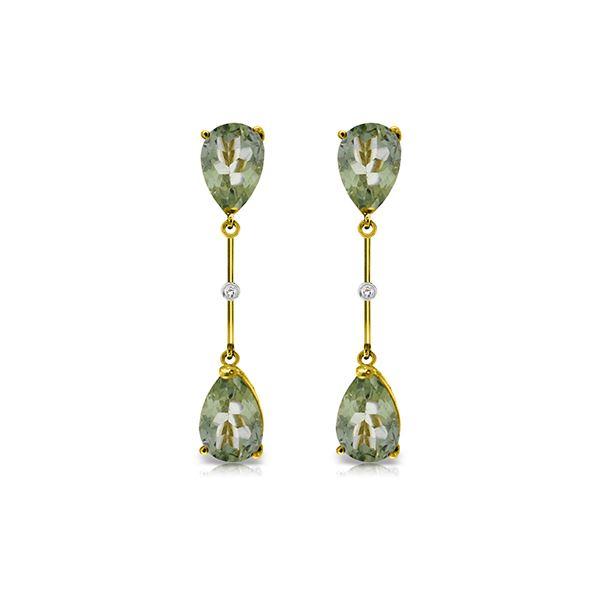 Genuine 6.01 ctw Green Amethyst & Diamond Earrings 14KT Yellow Gold - REF-42T4A