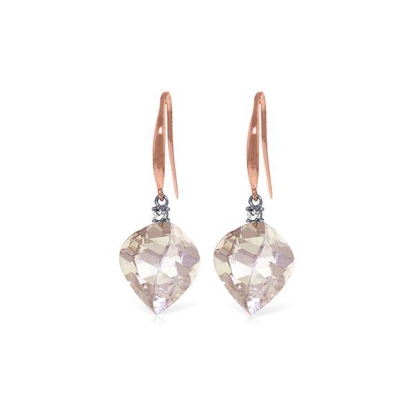 Genuine 25.7 ctw White Topaz & Diamond Earrings 14KT Rose Gold - REF-54R6P