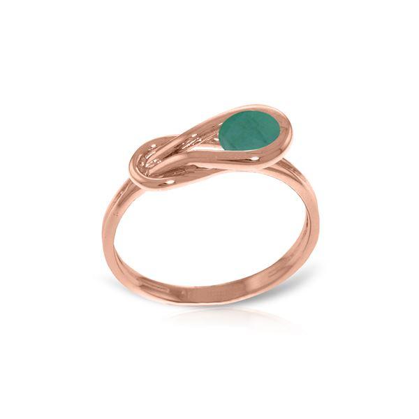 Genuine 0.65 ctw Emerald Ring 14KT Rose Gold - REF-49N6R