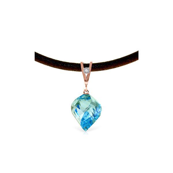 Genuine 13.91 ctw Blue Topaz & Diamond Necklace 14KT Rose Gold - REF-58M5T