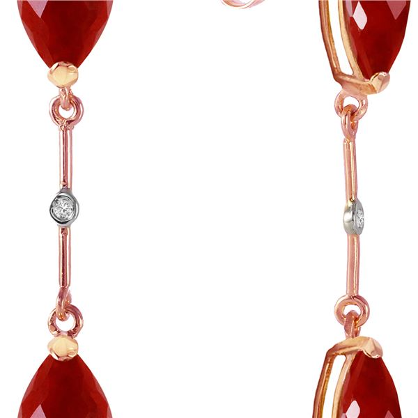Genuine 7.01 ctw Ruby & Diamond Earrings 14KT Rose Gold - REF-78A9K
