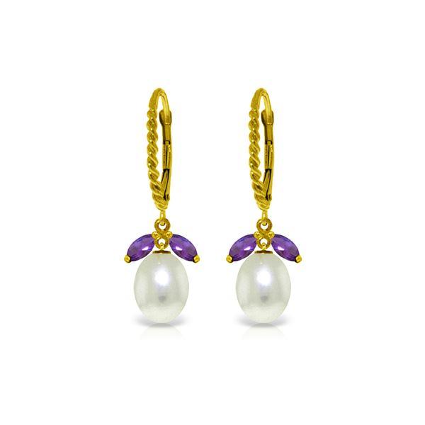 Genuine 9 ctw Amethyst & Pearl Earrings 14KT Yellow Gold - REF-39X3M